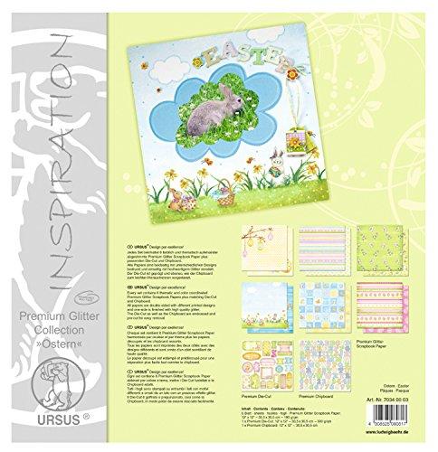 Ursus 70340003 - Premium Glitter Collection Ostern, ca. 30,5 x 30,5 cm, 6 Blatt Papier, 1 Die-Cut und 1 Chipboard