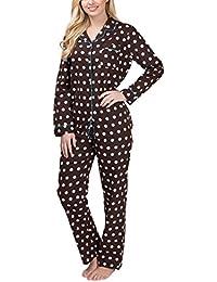 Flanell-Schlafanzug für Damen mit Knopfleiste und Polka Dot-Design - Moonline