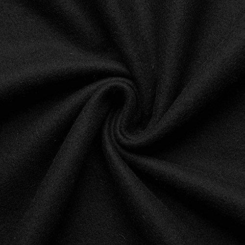 HANNAH - Wollstoff Stoffe Wolle Kaschmir Mantel Mittelalter Vorhang Decke Umhang Larp Meterware - 10 Farben (schwarz) Schwarz Wolle Mantel
