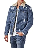 EightyFive Herren Jeansjacke Destroyed Denim Shearling Jacke Teddyfell EF3600, Größe:M, Farbe:Blue