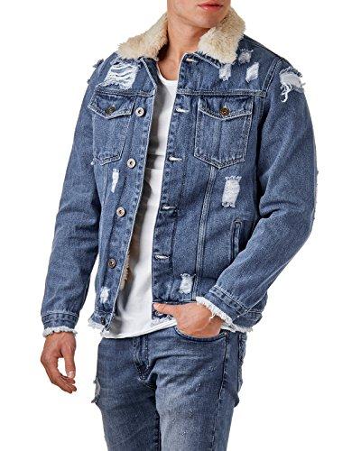 EightyFive Herren Denim Jeans-Jacke Destroyed Teddy-Fell Slim Fit Blau EF3600, Größe:M, Farbe:Blue