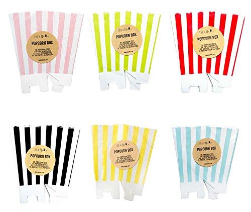 arty Geburtstag - Gestreift - Schwarz 1 Pack (12 boxes) (Popcorn-boxen-baby-dusche)