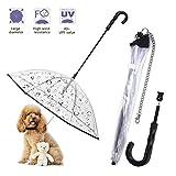 Paraguas de Perro Mascota con Cadena Correa Chubasqueros Transparente Visible...