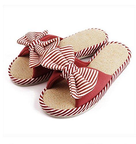 Printemps Et Automne Automne Manuel Coton Et Lin Revêtement De Sol Intérieur Anti-dérapant Accueil Ms Stripe Bow Slippers ( couleur : # 1 ) N ° 2