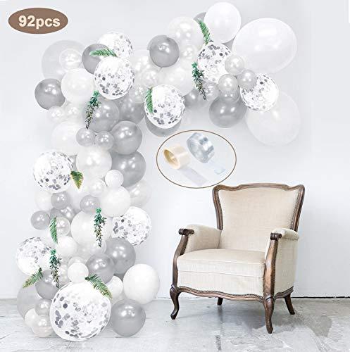 SPECOOL 92 Stück Latex Luftballons Weiß, Silber und Silber Konfetti Ballons Party Luftballons Perfekt für Geburtstagsfeier Hochzeit Party und Baby Dusche Party,Festival Dekoration