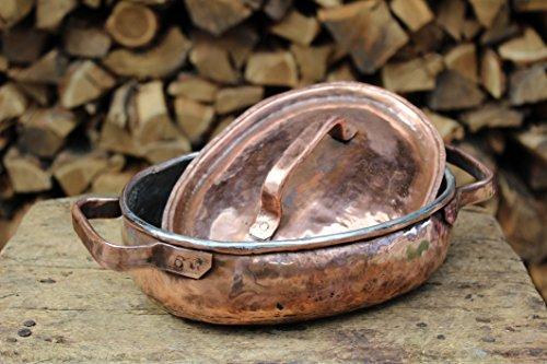 Pentola bassa ovale in rame lavorata a mano - 3