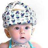 Ogquaton Casco de seguridad para niños pequeños Casquillo de protección de la cabeza de esponja blanda ajustable Protector de cabeza para bebés Niños pequeños caminando azul