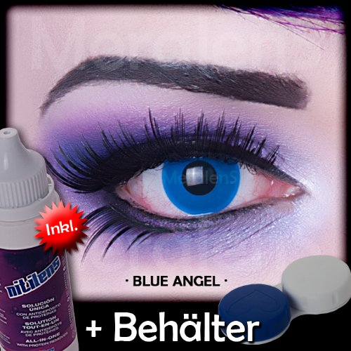 Meralens A0231 Blue Angel Kontaktlinsen mit Pflegemittel mit Behälter ohne Stärke, 1er Pack (1 x 2 Stück)