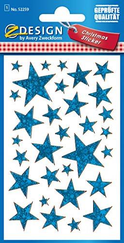 pegatinas-avery-52259-navidad-estrellas-pelicula-efecto-1-hoja-38-pegatinas-azul-brillo