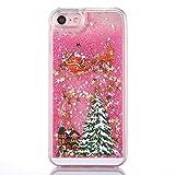 """Cover rigida per iPhone 6 Plus e 6S Plus da 5.5"""", con motivo natalizio, liquido con glitter, Babbo Natale e stelle, plastica, rosa, iPhone 6/6S"""