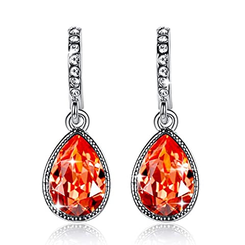 GoSparking Siam Red Crystal White alliage d'or plaqué Boucles d'Oreilles