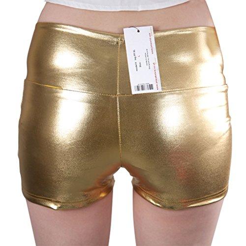 JNTworld les femmes sexy Faux cuir Shorts pantalons taille haute en satin noir skinny Or