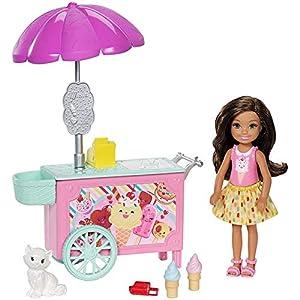 Barbie Chelsea, Carrito de Helado de muñeca Chelsea, accesorios muñeca (Mattel FDB33)
