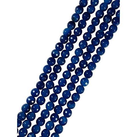AqBeadsUk Natural Jade sfaccettato rotondo 8 millimetri della pietra preziosa perline filo perline Gioielli Esecuzione di 14-15 pollici