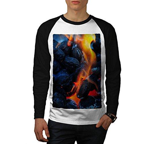 Feuer Flamme Asche Kunst Natur Brennen Heiß Asche Men M Baseball LS T-shirt | Wellcoda (Asche-raglan-t-shirt)