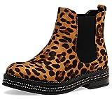 Caspar SBO092 Damen Chelsea Boots mit dezentem Glitzer Strass Dekor, Farbe:Leopard braun, Größe:39 EU