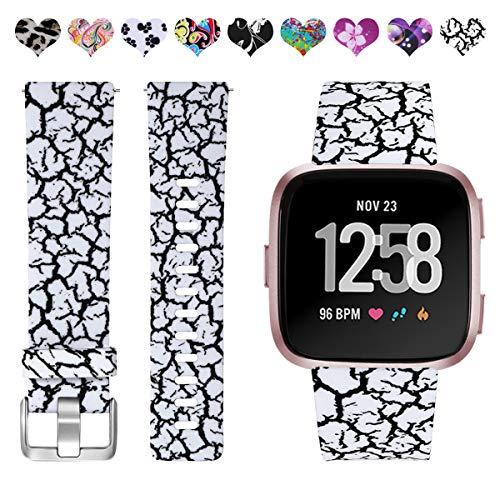 HUMENN Kompatibel für Fitbit Versa Armband/Fitbit Versa Lite Armband,  Wasserdichtes Blume Ersatz Armbänder Musterband für Fitbit Versa/Fitbit  Versa