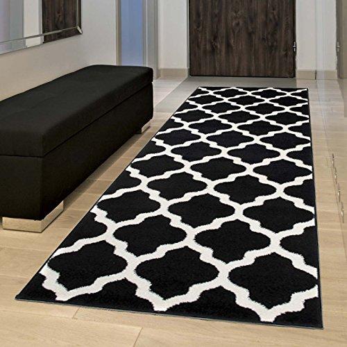 Marokkanische Spiel (Tapiso MAROKO Läufer Teppich Brücke Flur Modern Geometrisch Marokkanisch Gitter Designer Muster Schwarz Creme ÖKOTEX 80 x 170 cm)