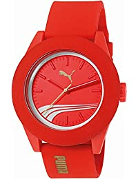 Puma Academy Men's Quartz Watch with Red Dial Analogue Display and Red Silicone Bracelet PU103971001