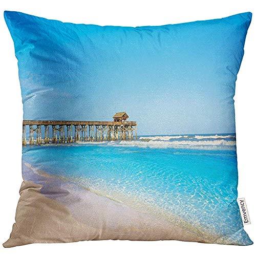 QDAS Kissenbezug Blue Atlantic Cocoa Beach Pier und Cape Canaveral von Florida in der Nähe von Orlando Sun Dekorative Kissenbezug Kissenbezug