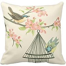 Nueva Pequeños pájaros posado en una rama y jaula en una manta almohada Throw almohada cover elegante, decorativo, único, Cool, Fun, Funky belleza Pop 18x 45,72cm dos lados