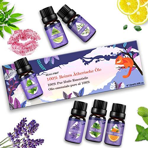 Ätherische Öle Set, Duftöle für Diffuser und Aromatherapie, 100% Reines Bio naturrein Aroma-Öl, 6 Verschiedene Aromen - Lavendel, Teebaum, Eukalyptus, Zitronengras, süße Orange, Pfefferminze -