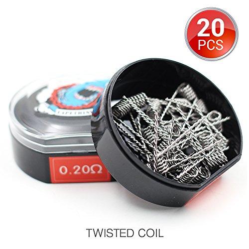 20 Stück Twisted Coil Vorkompilierte Draht by Vapethink, AWG(24GA/0.2mm Flat), 0.2ohm (Twisted 20-gauge-draht)