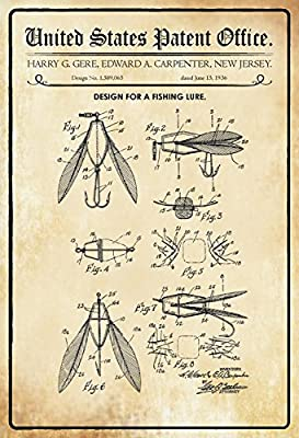 ComCard American Patents–Design for a fishing lure–Design for a fishing lure Jigs–Gere Carpenter–1936–No 1.589065–Base Metal Sign Tin Sign by Comcard