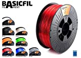BASICFIL PET 1.75mm, 1 kg filamento de impresión 3D, Rojo transparente