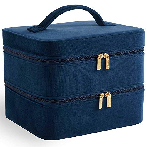 Beautify Mallette de rangement à maquillage en velours bleu marine — Valise à 2 niveaux avec compartiment et séparateurs amovibles — Pour bijoux, maquillage, brosses, produits cosmétiques et autres