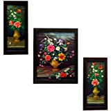 Indianara Wood Framed Wall Hanging Art(Multicolour) - Set of 3