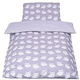 *NEW* Parure de lit bébé avec DESIGN REVERSIBLE - 2 pièces 100% coton BIO - Collection Hiboux gris 100x135