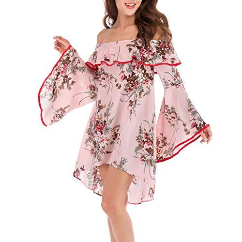 Damen Keine Schulter Kleid, LeeMon Mode Frauen mit Blumenmuster aus Shouder Flare Sleeve Slash Neck Casual Dress