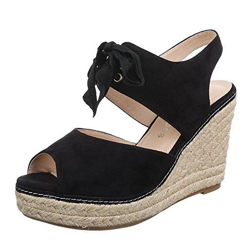 Damen Schuhe, B2909-SP, SANDALETTEN KEIL WEDGES PLATEAU PUMPS Schwarz