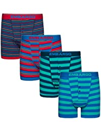 01c63fff9ba0 Embargo Mens Striped Print Designed Boxers 2 Multi-Pack Cotton Rich Breathable  Underwear