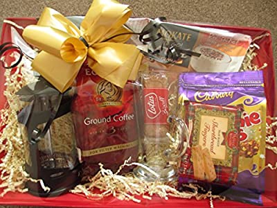 Luxury coffee gift set ,coffee hamper with cafetiere by Cheshire Hampers