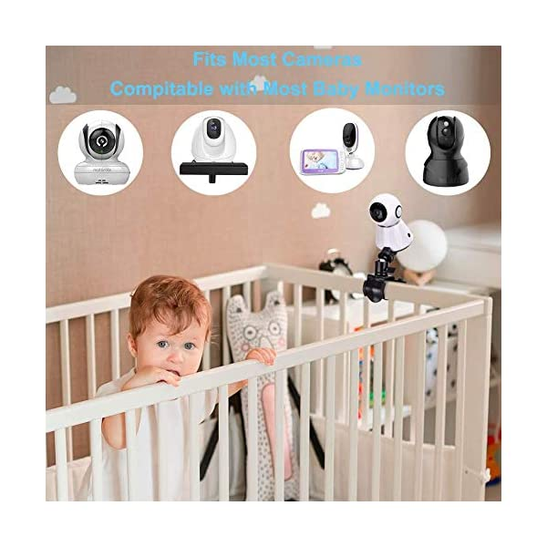 """Eurobuy Baby Camera Monitor Mount, 360 Degrees Rotatable Adjustable Holder, Keep Your Baby in Sight, Suitable for Most Baby Monitors Equipment Eurobuy ☺【Always Keep An Eye On Your Baby】- This upgraded baby camera mount adopts cardan joint and supports 360 degree rotation, helps you take better care of your care. ☺【Compatible With Most Cameras】- With a adjustable mount, suitable for camera bottom diameters from 52mm to 100mm, as well as baby cameras with 1/4"""" threaded or tripod mount. ☺【Protective Guard & Anti-skid Silicone Pad】- Protective guards of clip help to hold the camera more stable and firmly; Soft anti-skid silicone pas to protect your device from scratches. 3"""