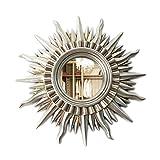 Specchio decorativo europeo moderno forma di sole parete appeso a parete camino specchio pensile ristorante soggiorno ingresso specchio ( colore : Argento antico , dimensioni : 71*71cm )