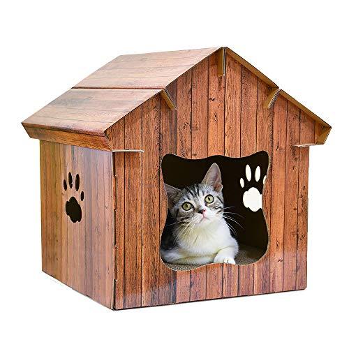 ZNN Katzenhaus - Pet House Interior Supplies Mühle, Papier Katzenstreu Katzenhaus Katzenkratzbrett, mit Katzenminze, geeignet für große, mittlere und kleine Katzen