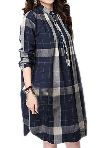 P Ammy Fashion Women's Checkered Cotton & Linen Oversized Long Sleeves Blouse Blue Size UK 10