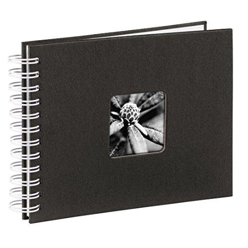 Hama Fotoalbum, 24 x 17 cm, 50 weiße Seiten, 25 Blatt, mit Ausschnitt für Bildeinschub, Fotobuch schwarz