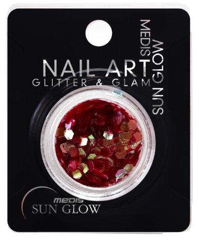 Medis Sun Glow Glitter & Glam Poudre pailletée pour nail art effet métallisé flocons Nid d'abeille Rouge foncé