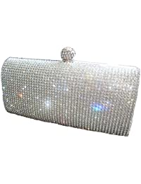 0b736b6023 Shimmering Silver Diamante Encrusted Evening bag Clutch Purse Party Bridal  Prom