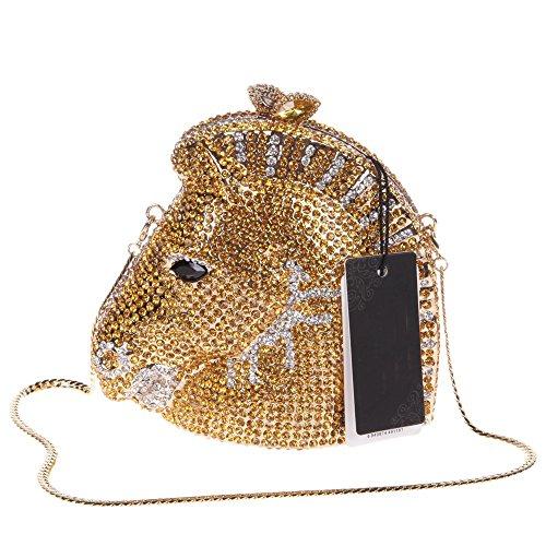 Santimon Donna Pochette Borsa 3D Testa Di Cavallo Strass Borsellini Borse Da Festa di Nozze Sera Con Tracolla Amovibile 3 Colori oro