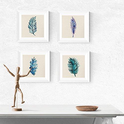PACK de láminas para enmarcar HOJAS AZULES. Posters cuadrados con imágenes de hojas. Decoración de hogar. Láminas para enmarcar. Papel 250 gramos alta calidad