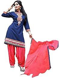 OSLC Blue Cotton Patiala Salwar Suit Women's Cotton Patiala Salwar Bottoms Blue Designer Cotton Semi-stitched...