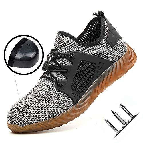 Niedrig, um zu helfen, Schuhe Stahlkappe Anti-Smashing Anti-Piercing-Arbeitsversicherung Schuhe Männer vor Ort Fußschutz Sicherheitsschuhe bequem atmungsaktiv Nicht stinkend feet37-48,Grau,46