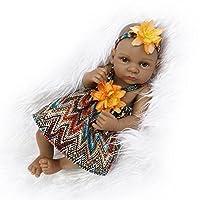QXMEI Simulation Rebirth Doll Silicone Cute Black Skin Mini Water Into Baby Toys Children Creative Birthday Gift 27CM,Girl