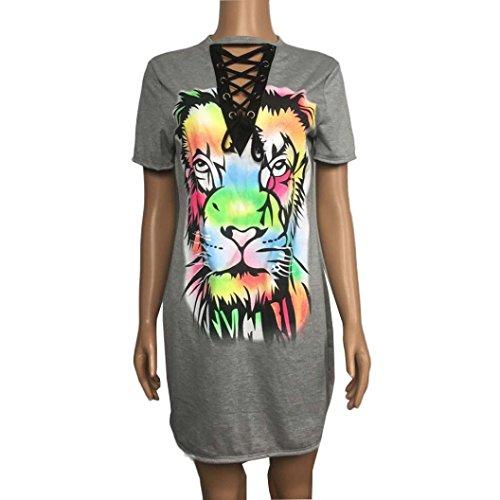 Rcool Frauen Jahrgang langes T-Shirt Kleid Party Urlaub T-Shirt mit Print (XL, (Kostüme 7 Für Group Halloween)