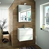 ALLIBERT Badmöbel-Set Badmöbel vormontiert Softclose-Funktion weiß Spiegelschrank Waschtisch 60 cm Badezimmermöbel